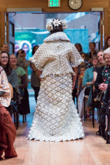 Dress made of paper featured at the Vashon Trashion Show